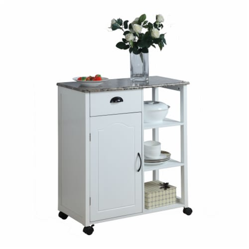 Pilaster Designs - White Finish Wood & Marble Vinyl Top Kitchen Storage Cabinet Cart Perspective: front