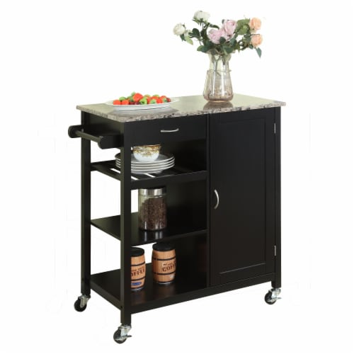 Pilaster Designs - Black Finish Wood & Marble Finish Top Kitchen Storage Cabinet Cart Perspective: front