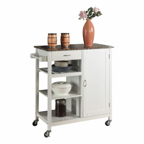 Pilaster Designs - White Finish Wood & Marble Finish Top Kitchen Storage Cabinet Cart Perspective: front