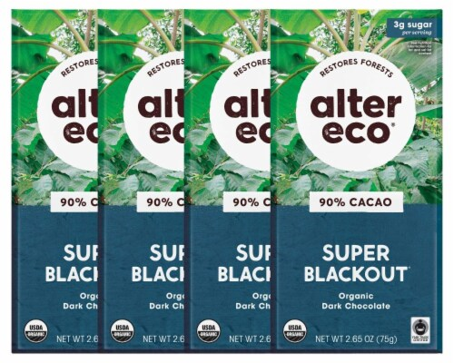 Alter Eco | Dark Chocolate Bars | Pure Dark Cocoa, Fair Trade, (4-Pack Super Blackout) Perspective: front