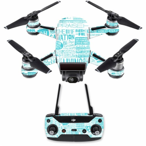 Mightyskins DJSPCMB-Faith Skin Decal Wrap for DJI Spark Mini Drone Combo Sticker - Faith Perspective: front