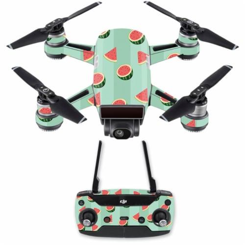 MightySkins DJSPCMB-Watermelon Patch Skin Decal for DJI Spark Mini Drone Combo - Watermelon P Perspective: front