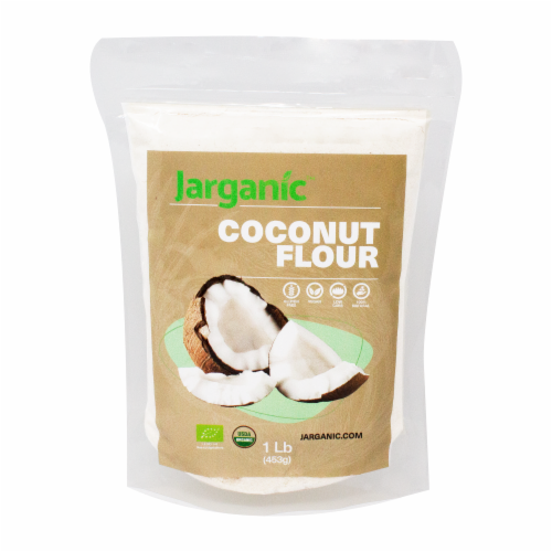 Organic Coconut Flour 1 lb / 16 Ounce - Keto Paleo Vegan, Low Carb, Certified Organic Perspective: front
