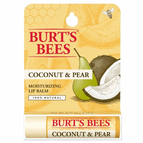 Burt's Bees Coconut & Pear Moisturizing Lip Balm Perspective: front