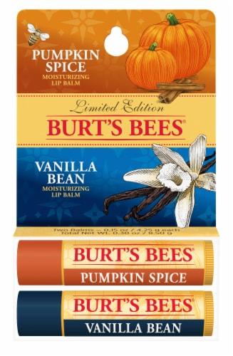 Burt's Bees Pumpkin Spice and Vanilla Bean Moisturizing Lip Balms Perspective: front