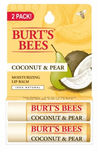 Burt's Bees Coconut & Pear Moisturizing Lip Balms Perspective: front