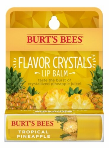Burt's Bees Flavor Crystals Tropical Pineapple Lip Balm Perspective: front