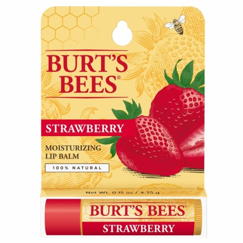 Burt's Bees Strawberry Moisturizing Lip Balm Perspective: front