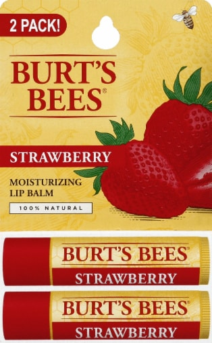 Burt's Bees Strawberry Moisturizing Lip Balms Perspective: front