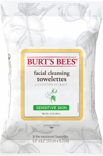 Burt's Bees Sensitive Skin Facial Cleansing Towelettes Perspective: front