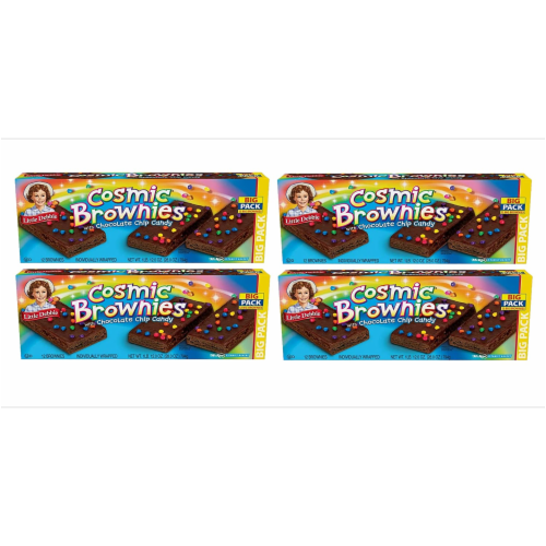 Cosmic Brownie Big Packs, 4 Boxes, 48 Individually Wrapped Brownies with Chocolate Chip Candy Perspective: front