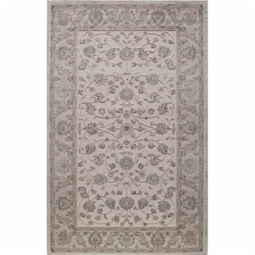 Rugs America 25780 New Dynasty Ivory Charcoal Rectangle Oriental Rug, 8 x 10 ft. Perspective: front