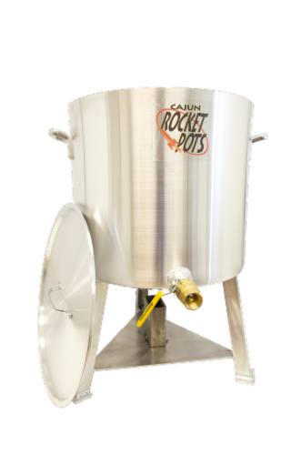 Cajun Rocket Pot 100qt Pro Boiling Pot w/ Built in Burner, Drain valve, & Regulator Perspective: front