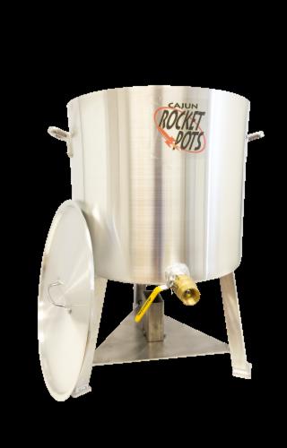 Cajun Rocket Pot 120qt Pro Boiling Pot w/ Built in Burner, Valve, & Regulator Perspective: front