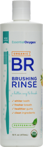 Essential Oxygen Organic BR Peppermint Brushing Rinse Perspective: front