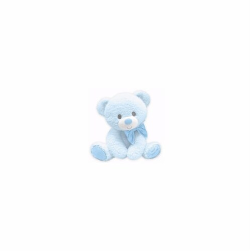First & Main 10 in. Tumbles Bear with Jesus Love Me Plush Toy, Blue Perspective: front