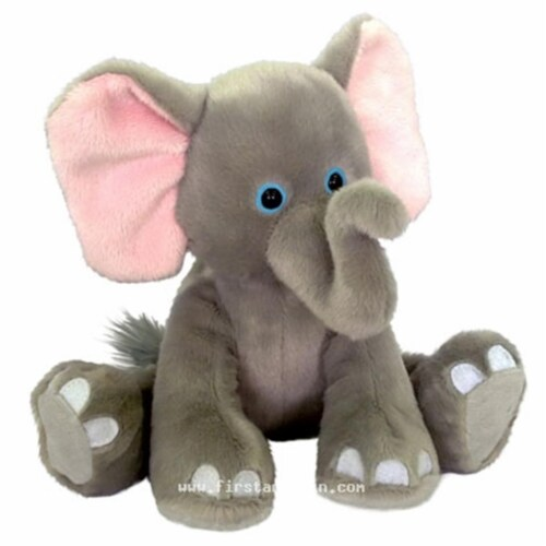 First & Main 7763 7 in. Sitting Floppy Friends Elephant Plush Toy Perspective: front