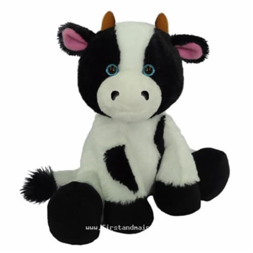 First & Main 7803 7 in. Sitting Floppy Friends Cow Plush Toy Perspective: front