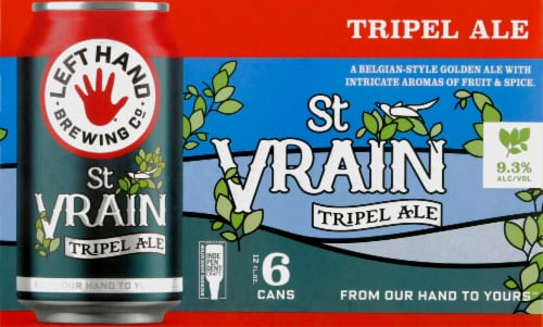 Left Hand Brewing Co. St. Vrain Triple Ale Beer Perspective: front