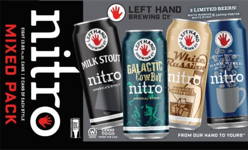 Left Hand Brewing Co. Nitro Mix Beer 6 Cans Perspective: front