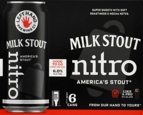 Left Hand Brewing Co. Milk Stout Nitro Beer 6 Cans Perspective: front