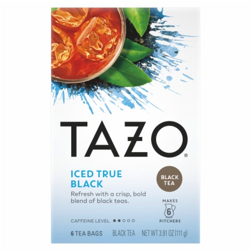 Tazo Iced True Black Tea Bags 6 Count Perspective: front