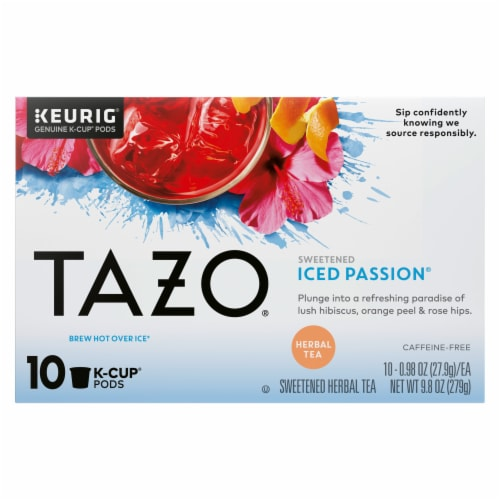 Tazo Iced Passion Sweetened Herbal Tea K-Cup Pods Perspective: front