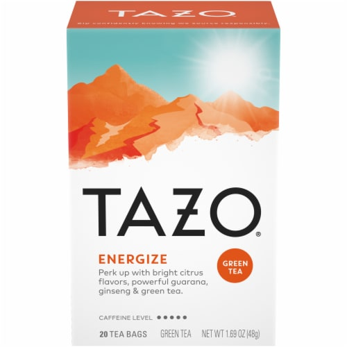 Tazo Energize Green Tea Bags 20 Count Perspective: front