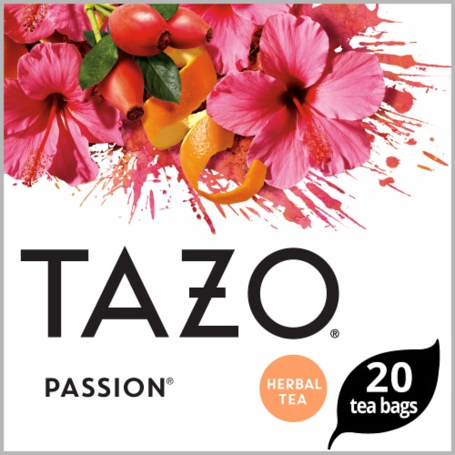 Tazo Passion Herbal Tea Bags Perspective: front