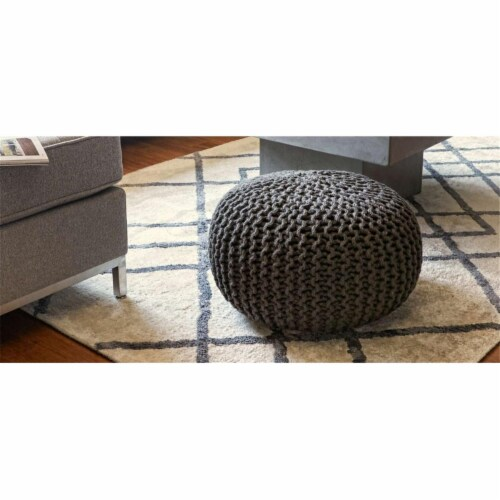 Anji Mountain AMB0010-16RD Round Jute Pouf, Gray Perspective: front