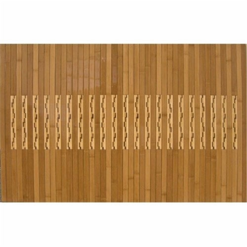 Anji Mountain AMB0090-2032 20 in. x 32 in. High Gloss Inlaid Bamboo Kitchen-Bath Mat- rubber- Perspective: front