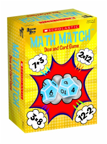 University Games Scholastic Math Match Dice and Card Game Perspective: front
