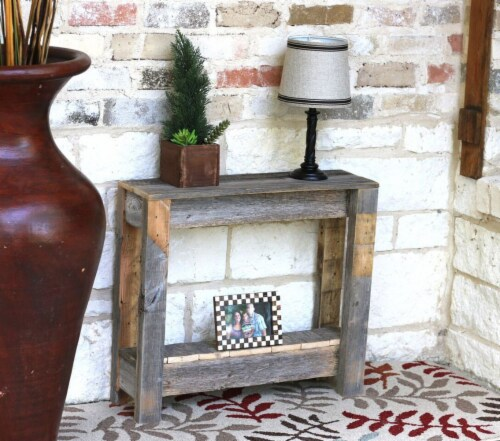 Natural Unfinished Side Table Perspective: front