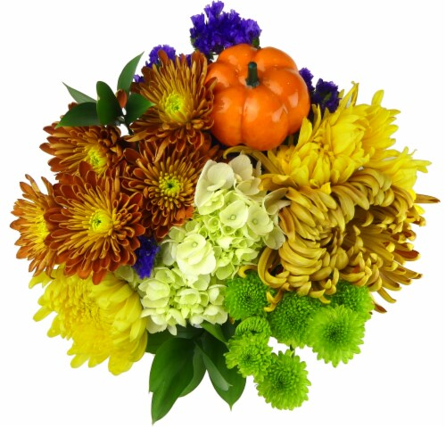 The Queens Flowers Pumpkin Patch Bouquet Perspective: front