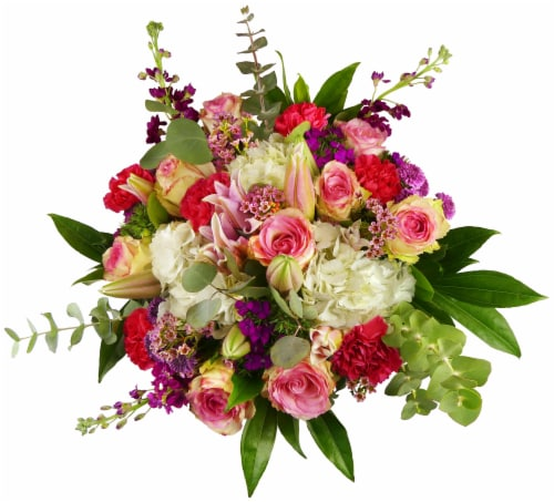 Luxe Mixed Pink Bouquet with Vase (Approximate Delivery 1-3 Days) Perspective: front