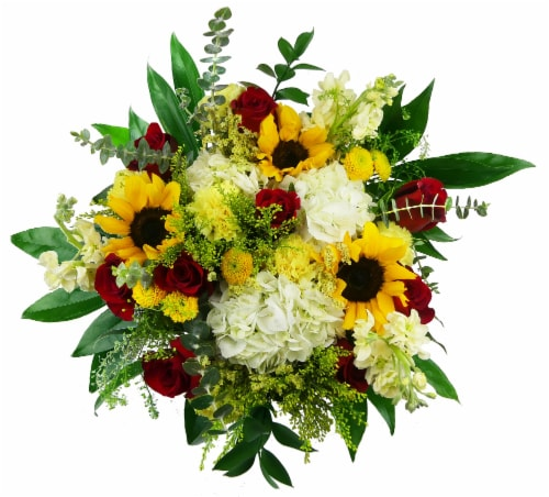 Luxe Mixed Yellow Bouquet with Vase (Approximate Delivery 1-3 Days) Perspective: front