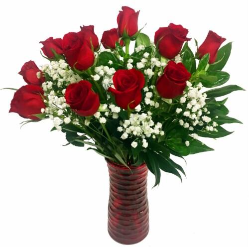 Dozen Red Rose Arrangement Perspective: front