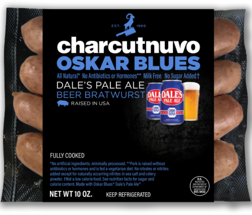 Dale's Pale Ale Charcutnuvo Oskar Blues Beer Bratwurst Perspective: front