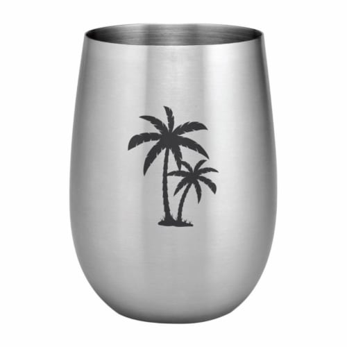 Supreme Housewares 20oz Stainless Steel Glass, Palm Tree Perspective: front