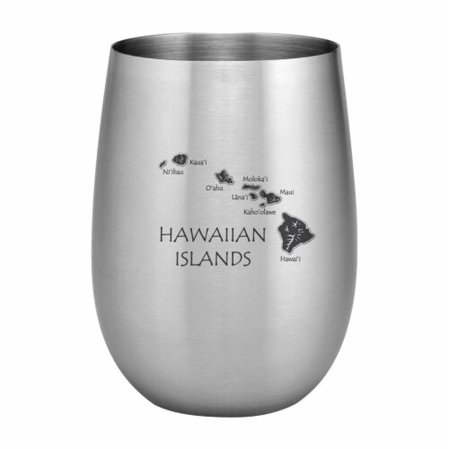 Supreme Housewares 20oz Stainless Steel Glass, Hawaii Perspective: front