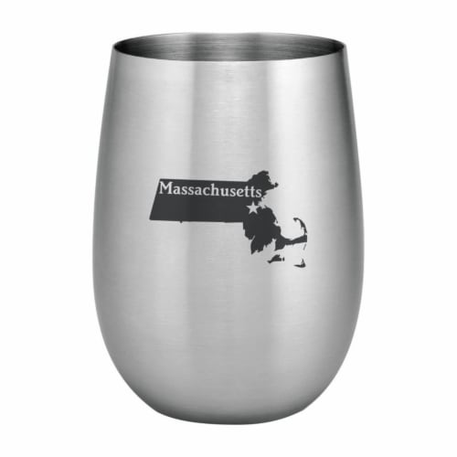 Supreme Housewares 20oz Stainless Steel Glass, Massachusetts Perspective: front