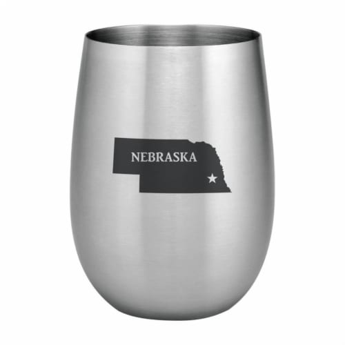 Supreme Housewares 20oz Stainless Steel Glass, Nebraska Perspective: front