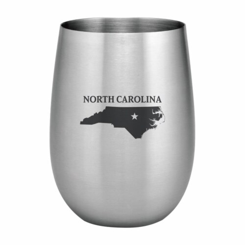 Supreme Housewares 20oz Stainless Steel Glass, North Carolina Perspective: front