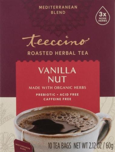 Teeccino Vanilla Nut Herbal Tee Bags Perspective: front