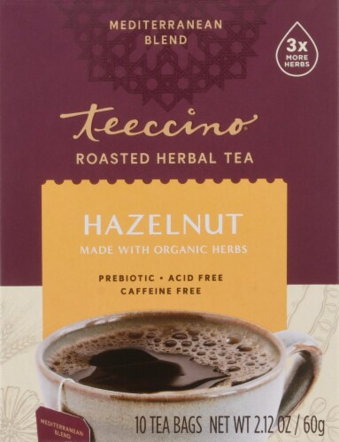 Teeccino Hazelnut Herbal Tea Bags Perspective: front