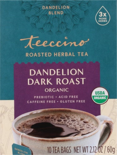 Teeccino Dandelion Dark Roast Herbal Tee Bags Perspective: front