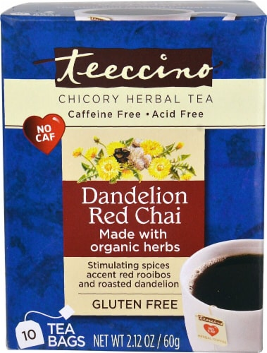 Teeccino  Organic Chicory Herbal Tea Gluten Free   Dandelion Red Chai Perspective: front