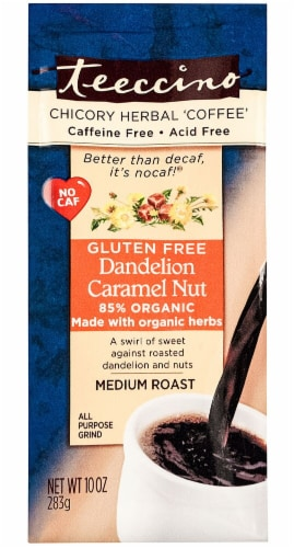 Teeccino  Dandelion Chicory Herbal Coffee Medium Roast   Caramel Nut Perspective: front