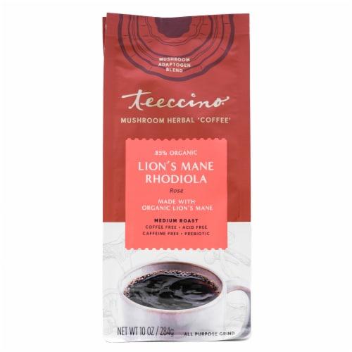 Teeccino Lion's Mane Rhodiola Rose Mushroom Medium Roast Herbal Coffee Perspective: front