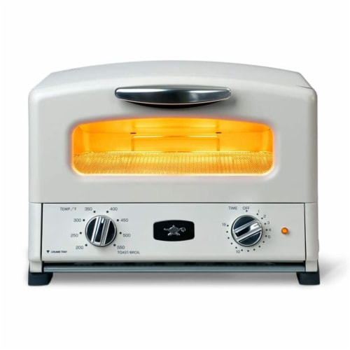 Sengoku SET-G16A(W) HeatMate Graphite Toaster Oven, 120 Volt, Eggshell White Perspective: front